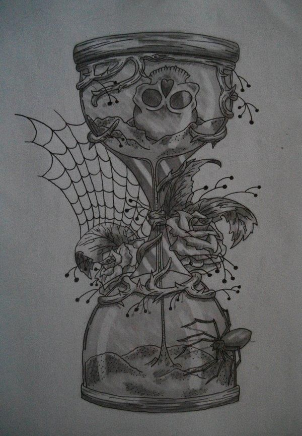 pocketwatch in hour glass drawing