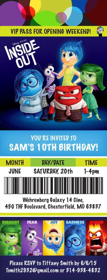 Inside Out Movie Themed Birthday Party by BohemianBungalow1986