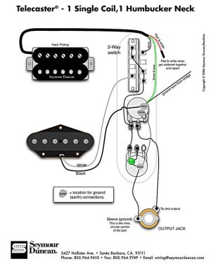 Tele Wiring Diagram  1 single coil, 1 neck humbucker My