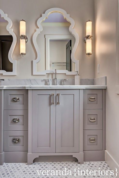 gray double vanity design gray marble counters Sunflower