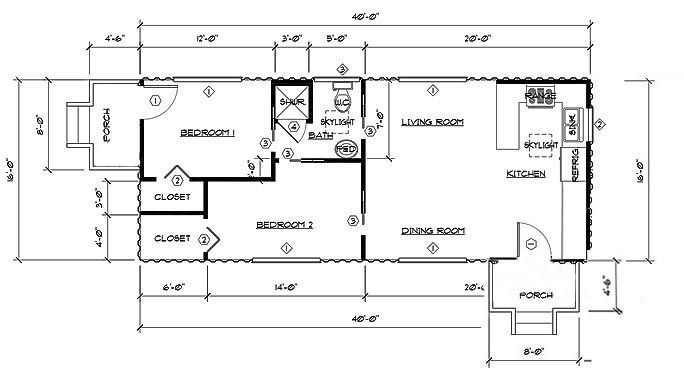 Two Bedroom, One Bath Shipping Container Home Floor Plan