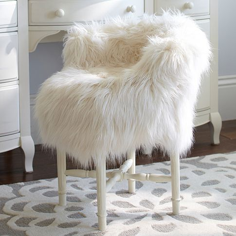 vanity chairs with back recliner chair and a half fur-rific minnie stool slipcover | pbteen to go the dream bedroom ...