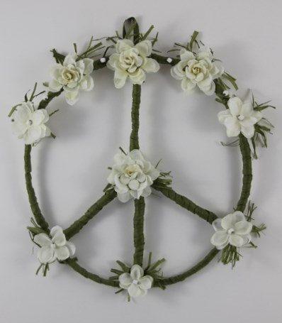 Hippie Peace Sign Wreath White Flower an original design by PeacePetalsAndPearls,