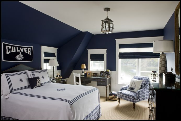 grey and navy blue boy bedroom  monochromatic is so