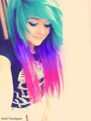 emo girl teal blue and pink hair