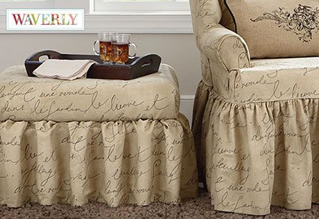 Pen Pal by Waverly Ottoman Slipcover  Sure Fit