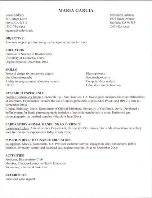 Resume Example For Internship - Examples of Resumes