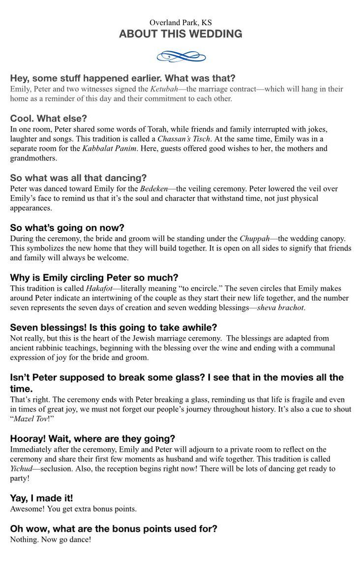 A fun Jewish wedding program with funny descriptions of