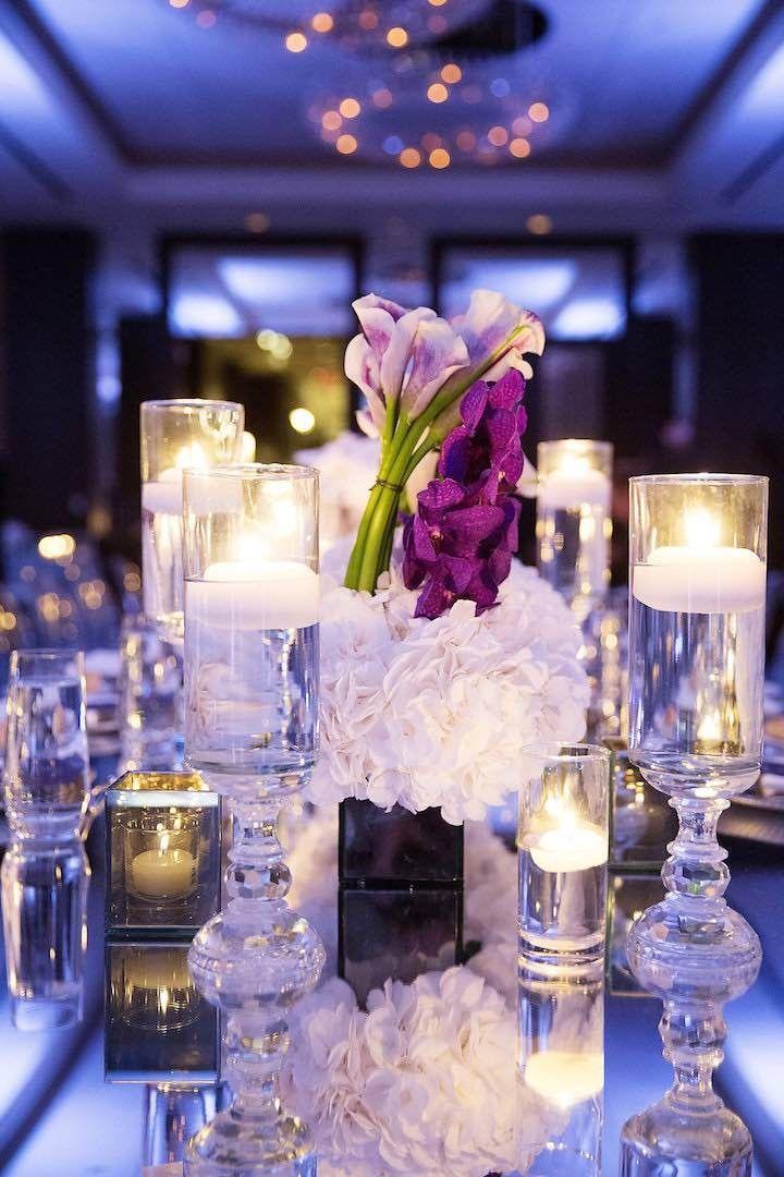 Photo Sarah Kate Photography Glamorous ballroom wedding reception centerpiece  Wedding