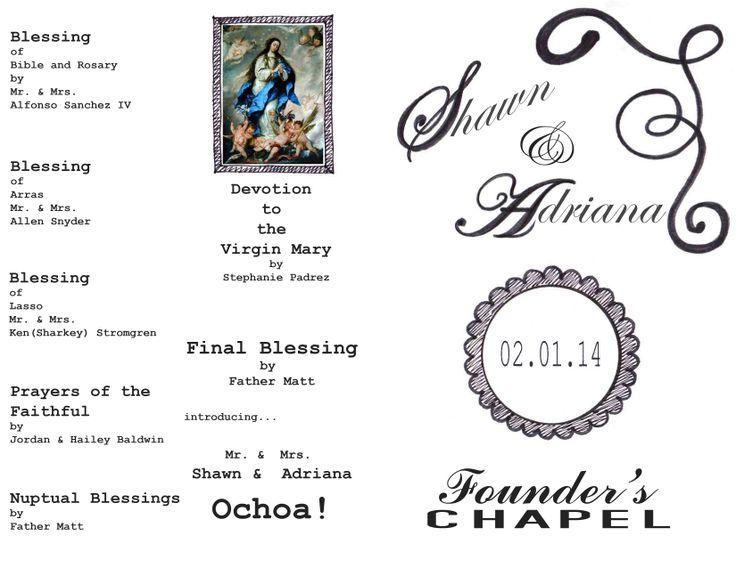 Catholic wedding ceremony program (inside layout). graphic