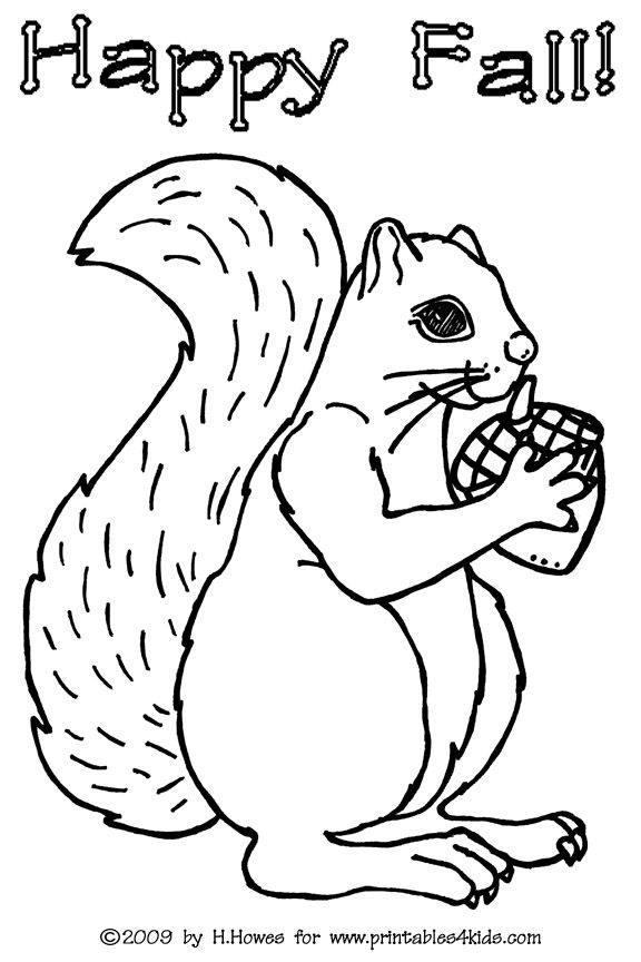 Squirrel Coloring Page : Printables for Kids