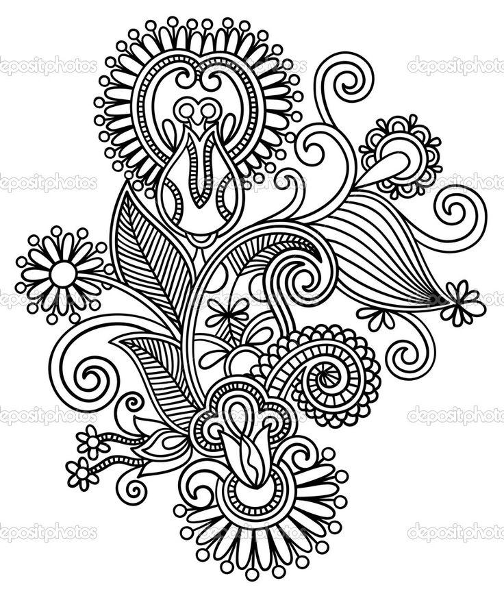 Original Hand Draw Line Art Ornate Flower Design Stock