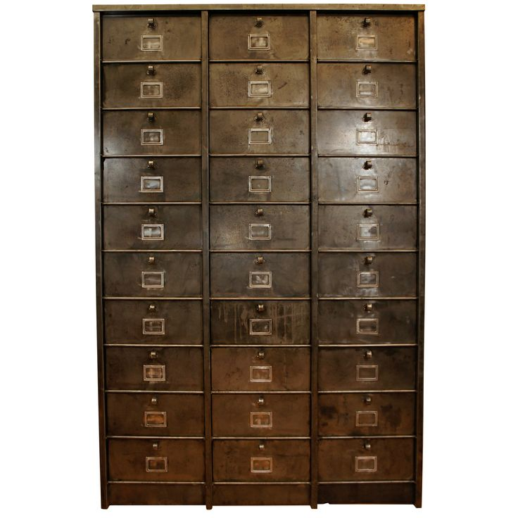 French Industrial Metal Cabinet 30 Drawers  Industrial
