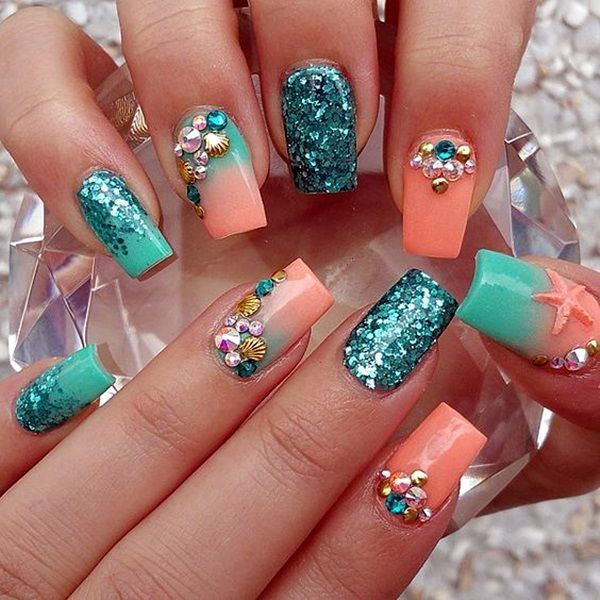 25+ best ideas about Coral nail designs on Pinterest
