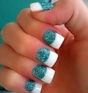blue with white tips nails tiffany