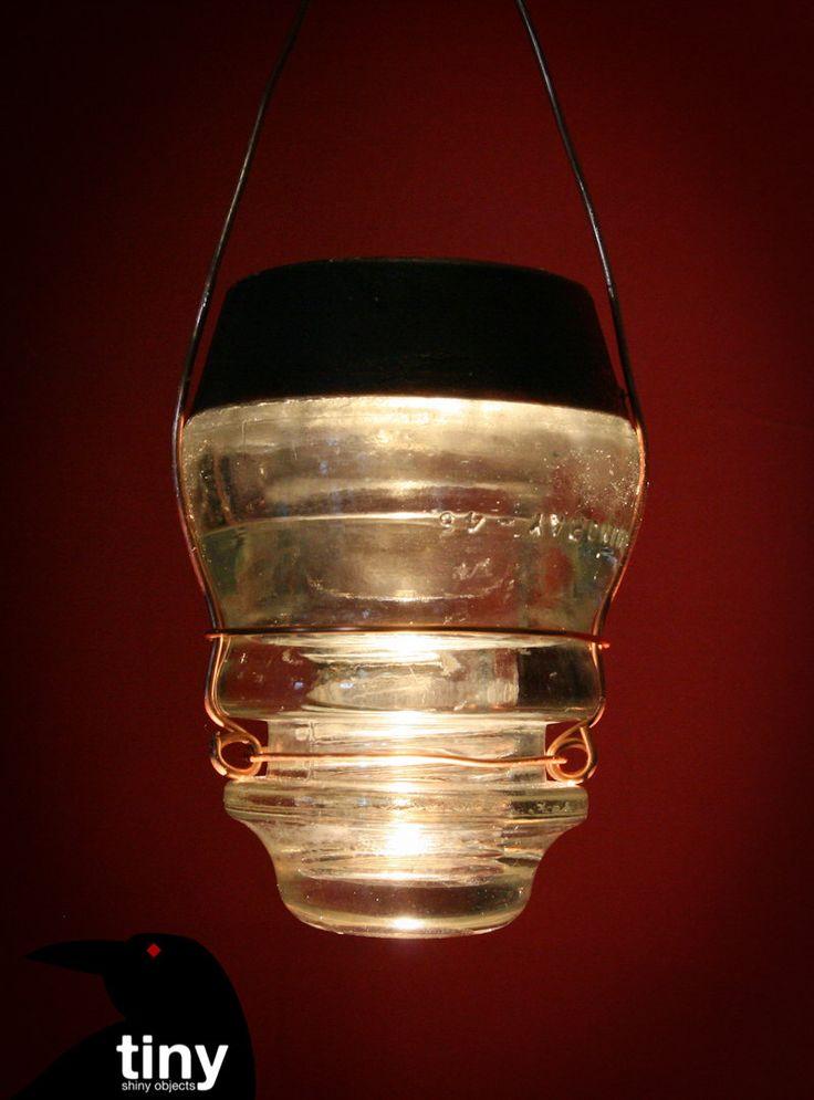 Hanging Solar Antique Glass Insulator Garden Light 24 00