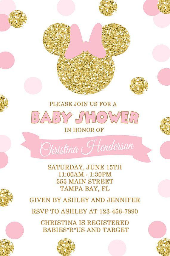 Pink And Gold Minnie Mouse Baby Shower Invitation Gold
