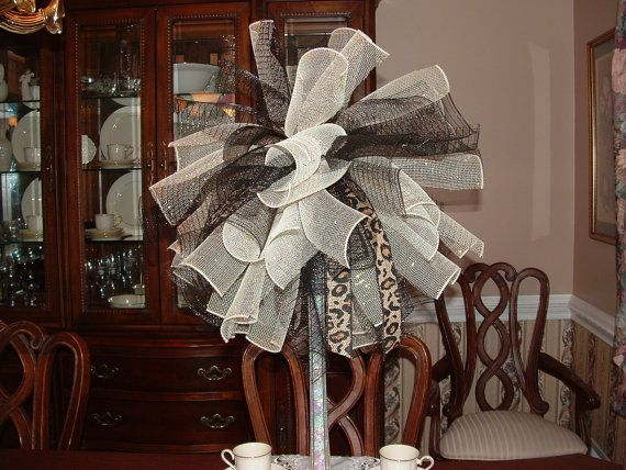 Black And Gold Deco Mesh Centerpiece With Accents By