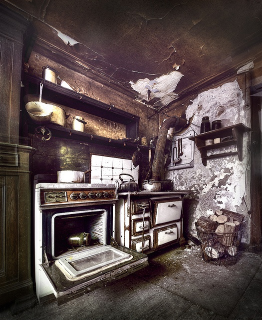 Abandoned kitchen  abandoned buildings  Pinterest  The box Stove and Old stove