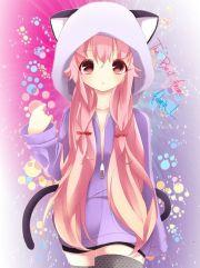 anime girl in cat jacket