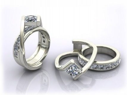 Custom Interlocking Wedding Ring And Engagement Ring