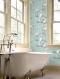 Flamingo wallpaper in the bathroom www.cole-and-son.com ...