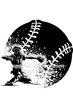 Edgy Girl Wallpaper Baseball Catcher Behind Home Plate With A Grunge Ball