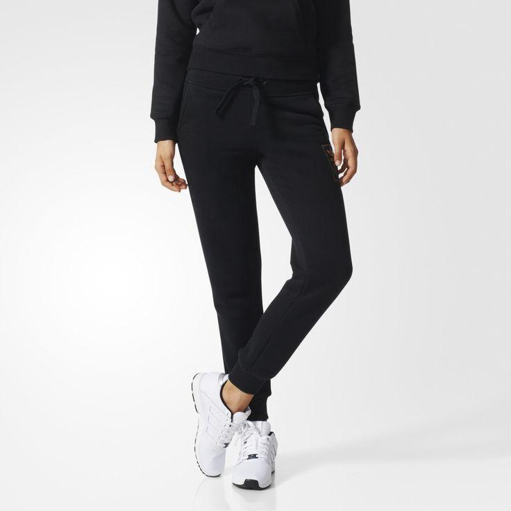 adidas femmes originals pantalon de survetement gold essentials logo cuffed e