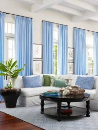 White Walls, Baby Blue Curtains | Decor, Living Room ...