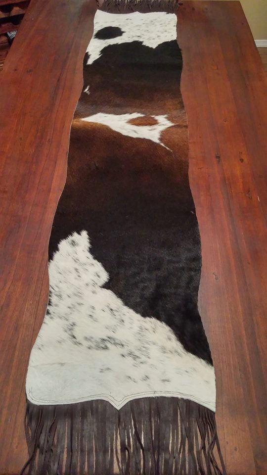 TRI Colored Brazilian Cowhide Table Runner By