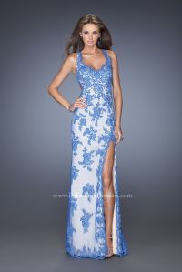 La Femme 20146 - blue lace prom dress - long blue lace ...