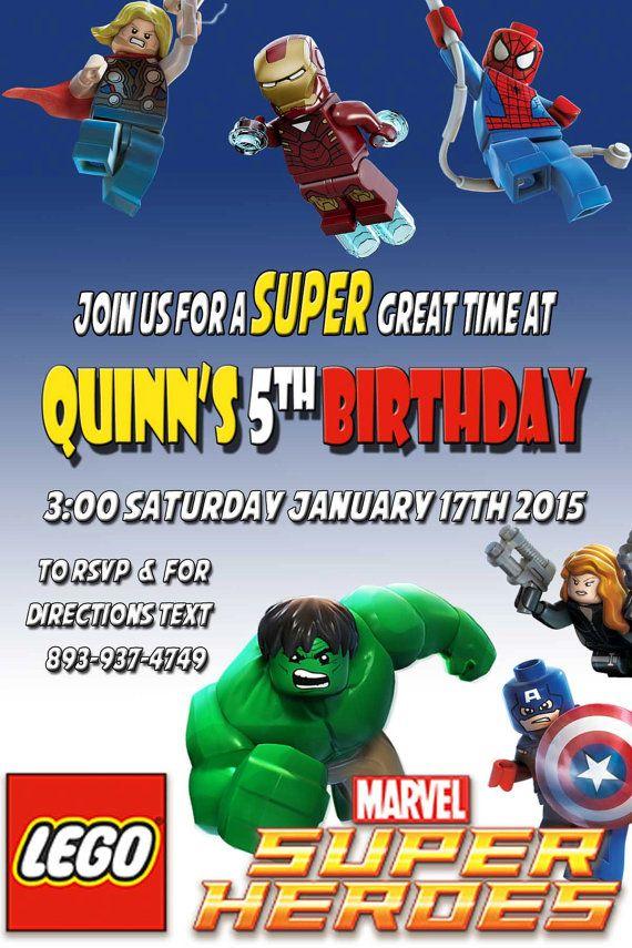 Printable Lego Marvel Birthday Party Invitation Digital