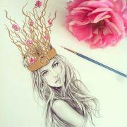 flowered branch headdress messy