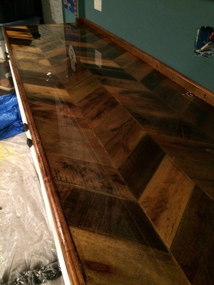 Pallet countertop with epoxy finish  Basement