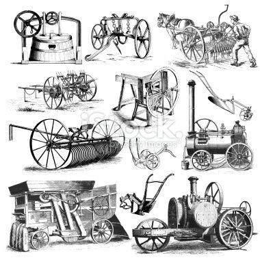 Agricultural Farmers Machinery and Equipment Illustrations