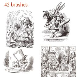 free download ~ Alice in Wonderland Photoshop Brushes AA