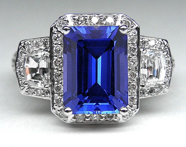 Emerald Cut Blue Sapphire Vintage Design Halo Ring With Trapezoids Side Stones Diamonds