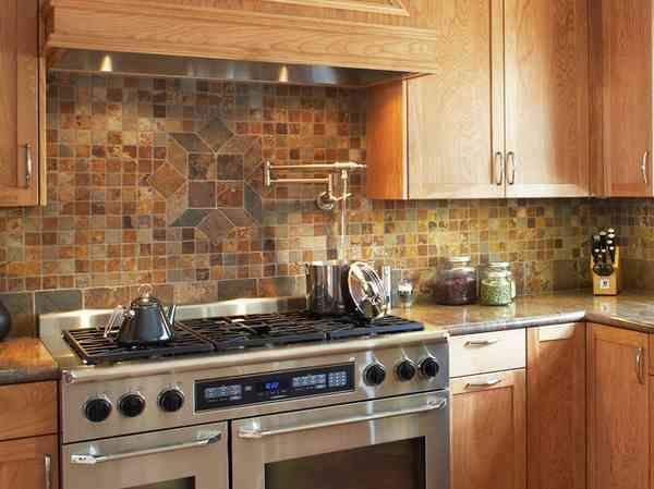 rustic kitchen with stone backsplash Mini Stone Tiles30 Rustic Kitchen backsplash ideas