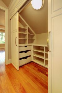 Slanted roof closet storage- great idea for kids rooms at ...