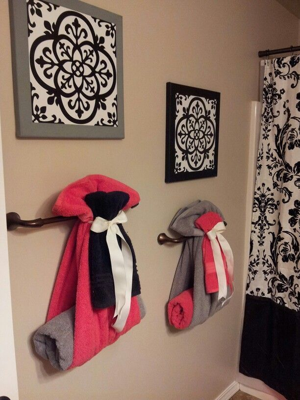 Cute way to hang towels for guest bathroom  diy home