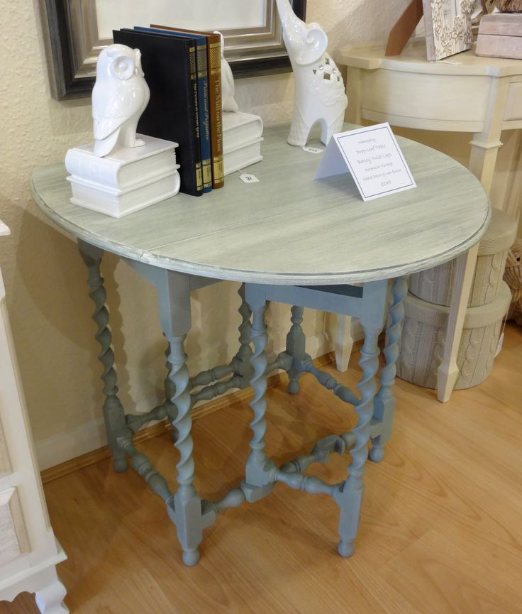 Oval oak gateleg table with barleytwist legs painted