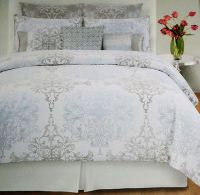 Tahari Home Grey Blue Damask Scroll Full Queen 3pc Duvet ...