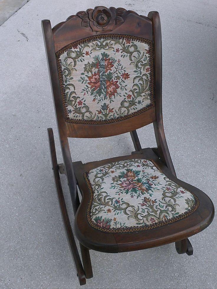 Vintage folding rocking chair wood sewing nursing rocker
