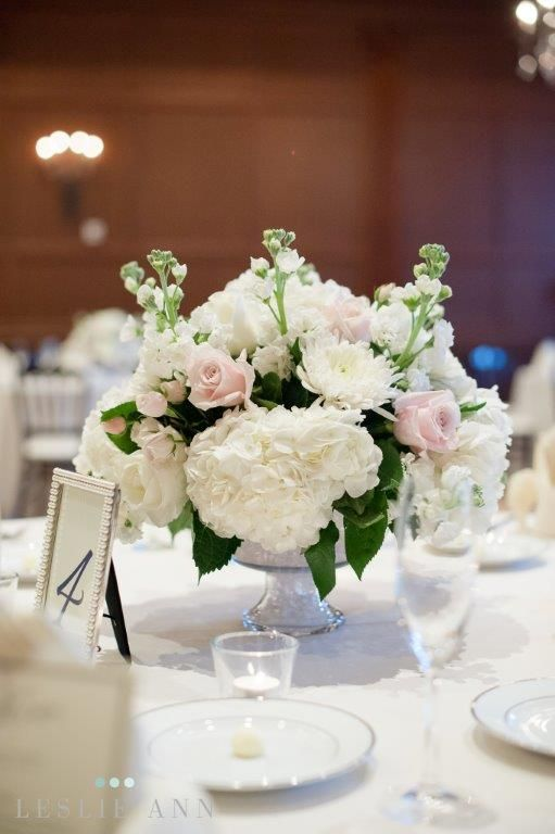 Low Centerpiece With White Hydrangeas Light Pink Roses