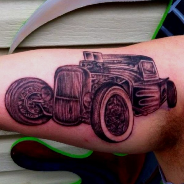 20 Tattoos Of Hot Rod Cars Ideas And Designs