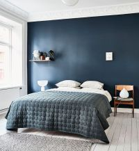 Dark Blue Wall Bedroom