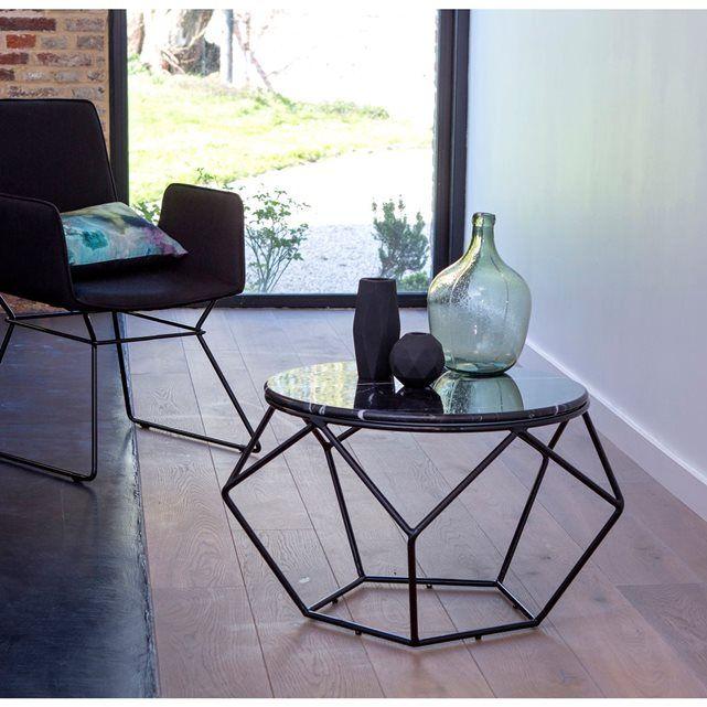 Table Basse Ronde Metal Noir Et Marbre Mobilier De Jardin Graphique Outdoor Tikamoon
