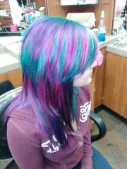 teal pink and purple stranded