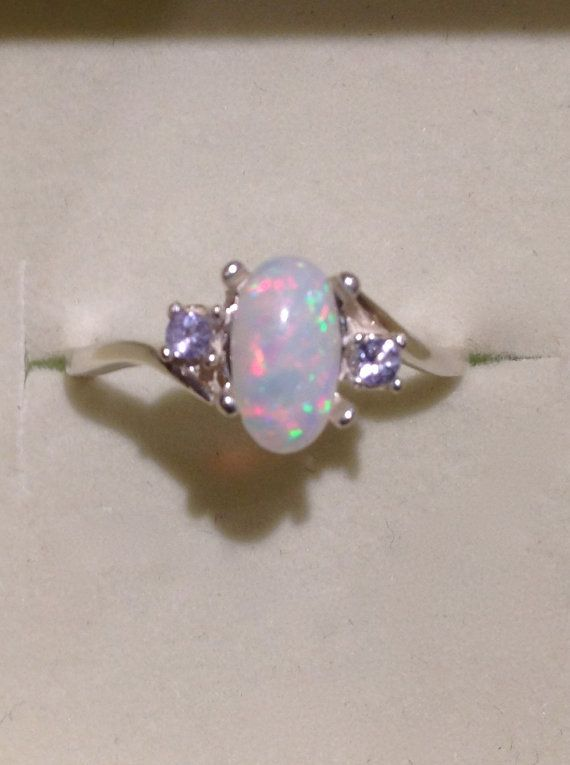 Brazilian Opal Ring  Genuine Pink and Purple Opal Silver Ring with Tanzanites  14K Optional