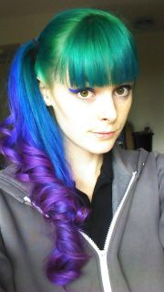pretty green blue and purple ponytail